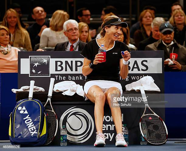 Monica Seles of the United States laughs during a break in a match against Gabriela Sabatini of Argentina during the BNP Paribas Showdown at Madison...