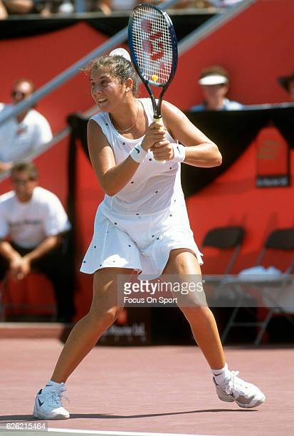 Monica Seles of Yugoslavia in action during a women's singles match at the Du Maurier Canadian Open circa 1995 at the Jarry Stadium in Montreal...