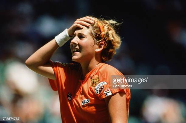 Monica Seles of Yugoslavia pictured during play to reach and win the final of the Women's singles tournament at the 1992 Australian Open at Flinders...