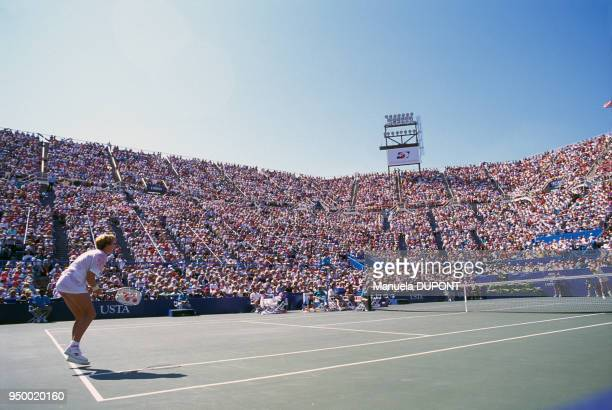 Monica Seles pendant la finale du tournoi de tennis de Flushing Meadows le 7 septembre 1991 à New York EtatsUnis