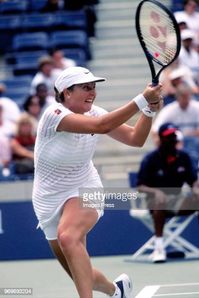 Monica Seles plays tennis during the 1998 US Open in New York City