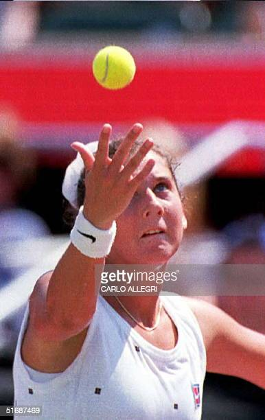 Monica Seles serves to Gabriela Sabatini in the first set during semi-final play at the Canadian Open Tennis Championships in Toronto 19 August. This...