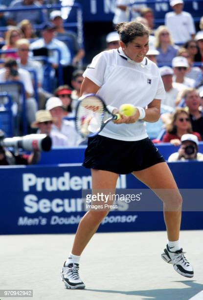 Monica Seles watches tennis at the US Open circa 1996 in New York City