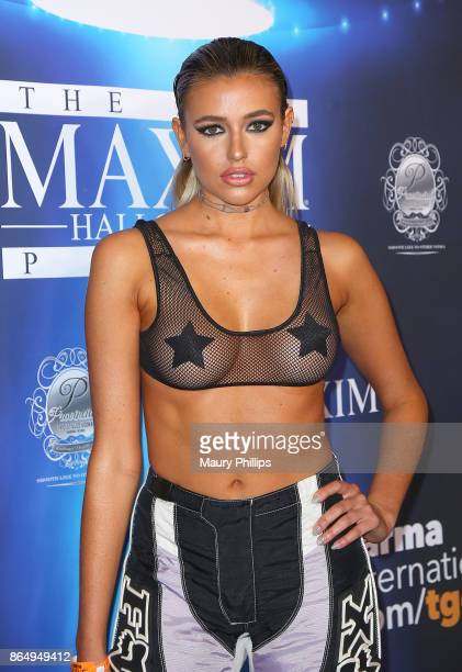 Monica Sims arrives at the 2017 Maxim Halloween Party at Los Angeles Center Studios on October 21 2017 in Los Angeles California
