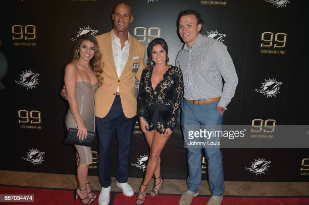 Monica Velasco Jason Taylor Joy Taylor and Noah Taylor attend The Miami Dolphins 'Hall of Fame Celebration' hosting Jason Taylor at Hard Rock Stadium...