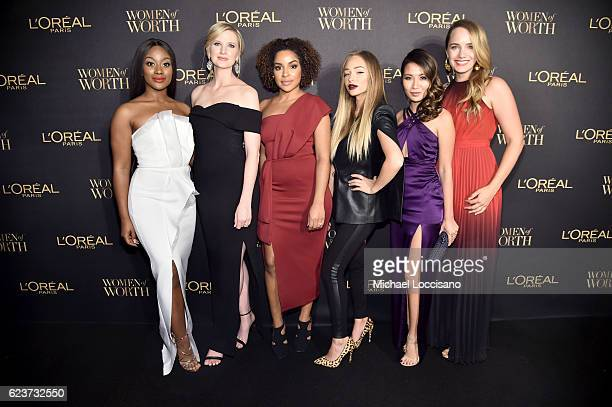 Monica Veloz Ashley Brooke Chambers Stephanie Lee Liza Lash Wendy Nguyen and Grace Atwood attend the L'Oreal Paris Women of Worth Celebration 2016...