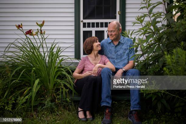 Monica Wood and Dan Abbott pose for a portrait in the backyard of their home in Portland The couple recently decide to talk publicly about Abbott's...