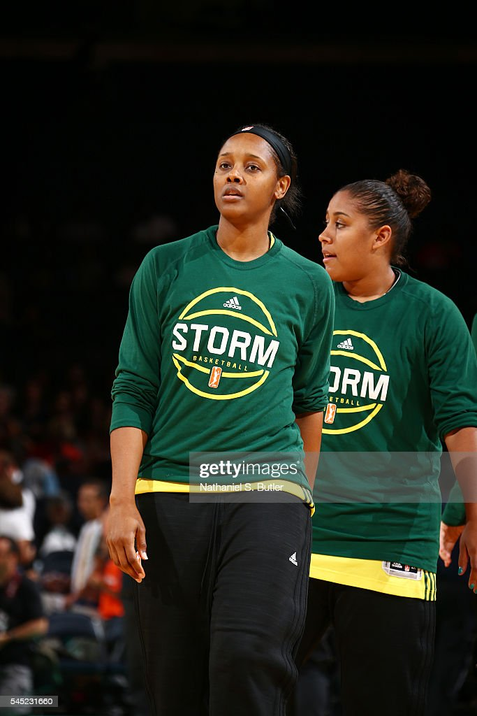 Monica Wright #22 and Kaleena Mosqueda-Lewis #23 of the Seattle Storm looks on before the game against the New York Liberty on July 6, 2016 at Madison Square Garden in New York, New York.