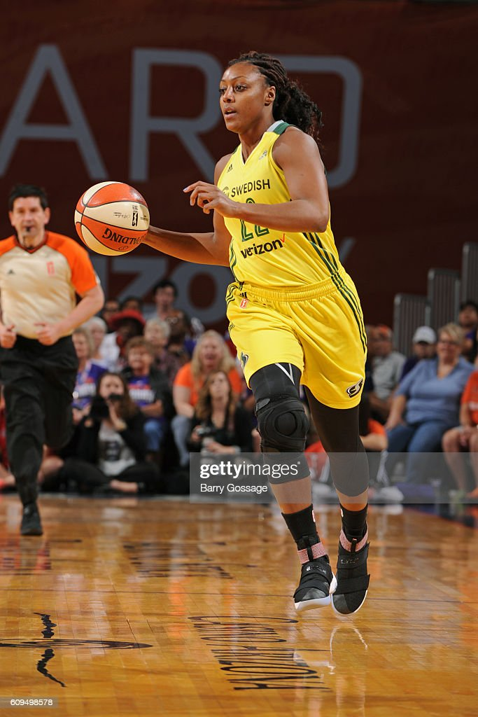 Monica Wright #22 of the Seattle Storm dribbles the ball up court against the Phoenix Mercury on September 15, 2016 at Talking Stick Resort Arena in Phoenix, Arizona.