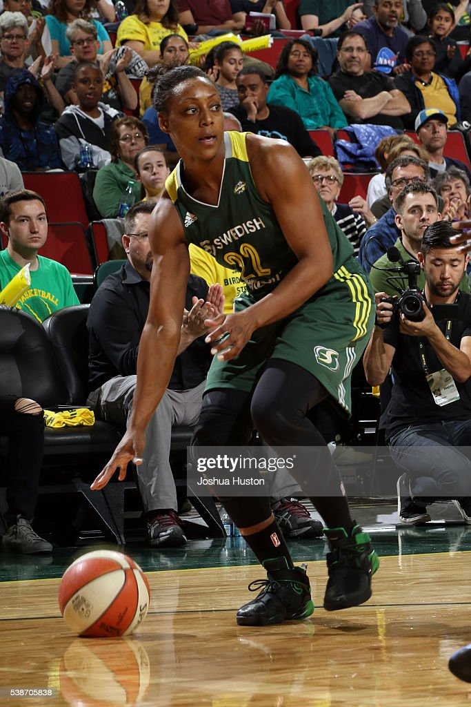 Monica Wright #22 of the Seattle Storm handles the ball during the game against the Minnesota Lynx on May 22, 2016 at Key Arena in Seattle, Washington.