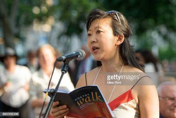 Monica Youn reads during the 22nd Annual Poets House Poetry Walk across The Brooklyn Bridge on June 12 2017 in New York City