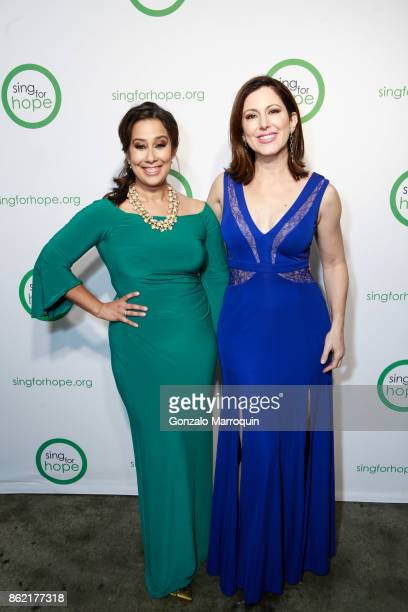 Monica Yunus and Camille Zamora during the Sing for Hope Gala 2017 at Tribeca Rooftop on October 16 2017 in New York City