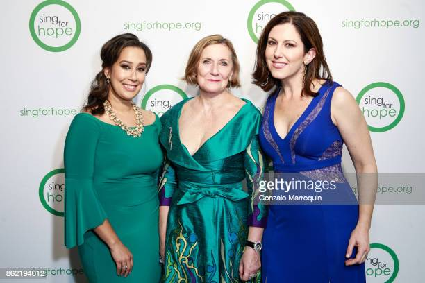 Monica Yunus Ann Ziff and Camille Zamora during the Sing for Hope Gala 2017 at Tribeca Rooftop on October 16 2017 in New York City