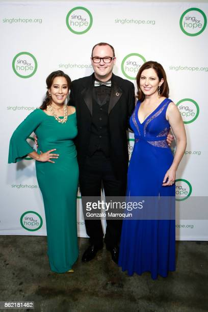 Monica Yunus Dominique Dauster and Camille Zamora during the Sing for Hope Gala 2017 at Tribeca Rooftop on October 16 2017 in New York City