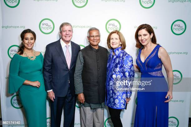Monica Yunus Dr Joseph Polisi Muhammad Yunus Elizabeth Polisi and Camille Zamora during the Sing for Hope Gala 2017 at Tribeca Rooftop on October 16...