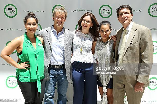 Monica Yunus Lonnie Quinn Camille Zamora Daphne RubinVega and Tom Costanzo attend the The 2016 Sing For Hope Pianos launch event on June 6 2016 in...