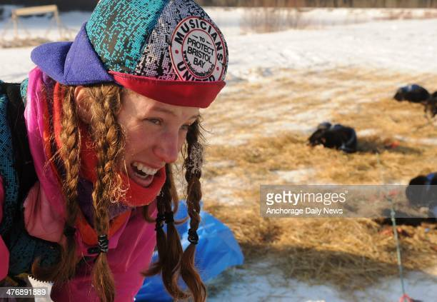Monica Zappa at the Nikolai checkpoint during the 2014 Iditarod Trail Sled Dog Race on Wednesday March 5 in Alaska