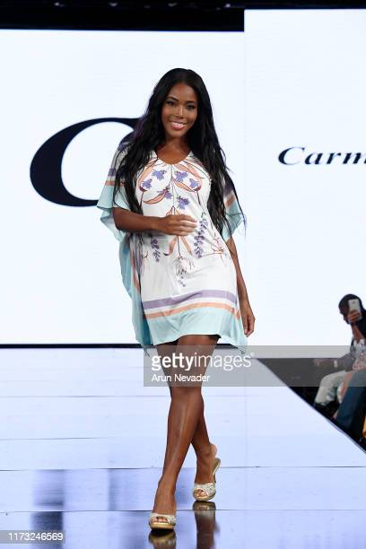 Monifa Jansen walks the runway during CARMEN STEFFENS At New York Fashion Week Powered by Art Hearts Fashion NYFW September 2019 at The Angel...