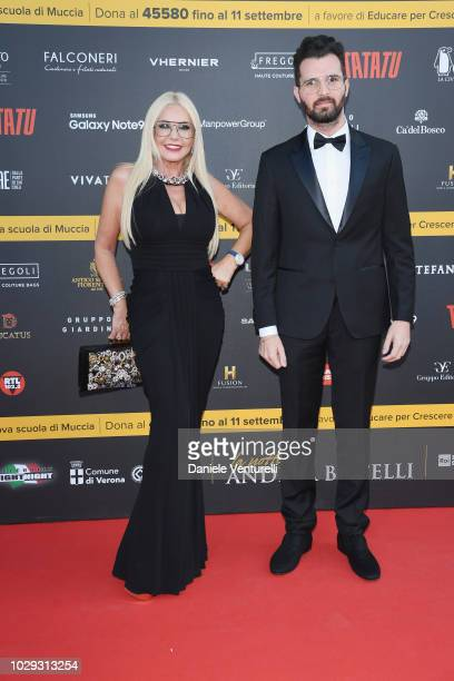Monika Bacardi and Andrea Iervolino attend Celebrity Fight Night at Arena di Verona on September 8 2018 in Verona Italy