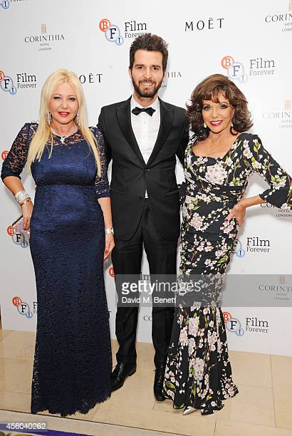 Monika Bacardi Andrea Iervolino and Joan Collins arrive at the Al Pacino BFI Fellowship Dinner supported by Moet Chandon at the Corinthia Hotel...