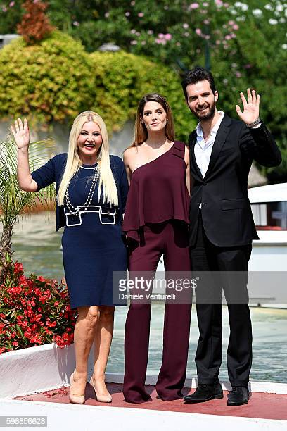 Monika Bacardi Ashley Greene and Andrea Iervolino arrive at Lido during the 73rd Venice Film Festival on September 3 2016 in Venice Italy