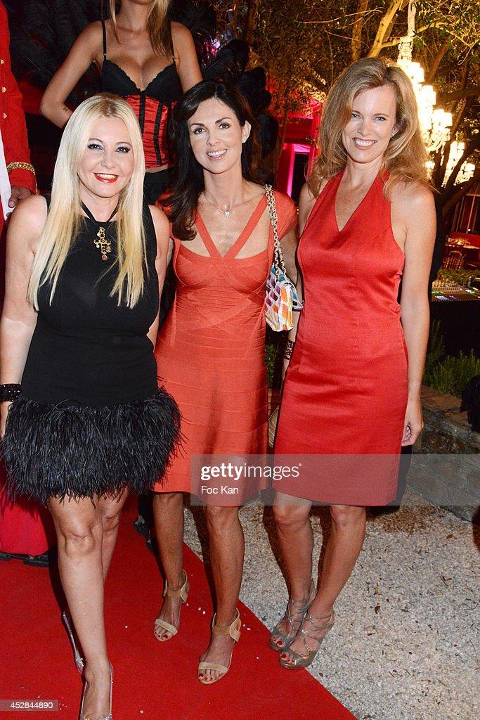 Monika Bacardi, Caroline Barclay and Mrs Michel Levaton attend the Monika Bacardi Summer Party 2014 St Tropez at Les Moulins de Ramatuelle on July 27, 2014 in Saint Tropez, France.