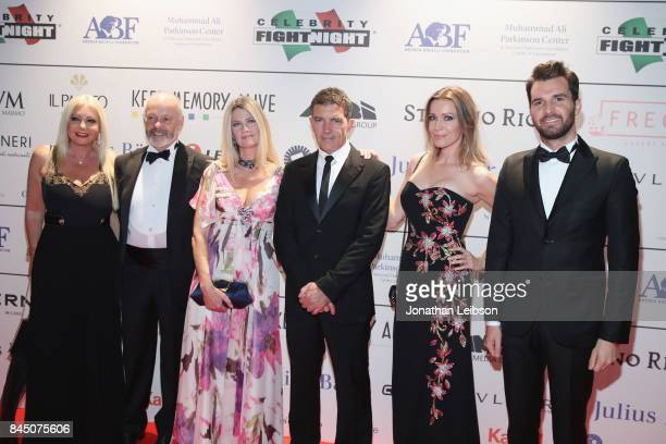 Monika Bacardi guests Antonio Banderas Nicole Kempel and Andrea Iervolino attend the Dinner at Galleria Doria Pamphilj as part of the 2017 Celebrity...