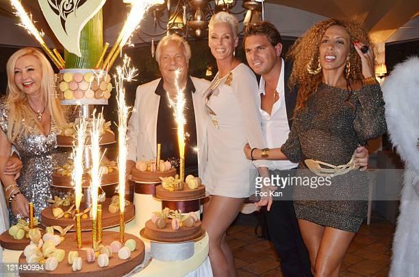 Monika Bacardi, Massimo Gargia, Brigitte Nielsen, a guest and Afida Turner attend the Massimo Gargia Summer Party at Les Moulins de Ramatuelle on...