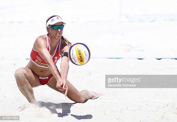 Monika Brzostek of Poland in action during the main draw match against Finland at Pajucara beach during day three of the FIVB Beach Volleyball World...
