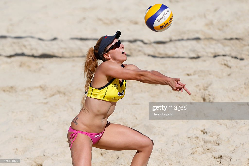 Monika Brzostek of Poland tees up the ball during Day 2 of the FIVB Moscow Grand Slam on May 27, 2015 in Moscow, Russia.