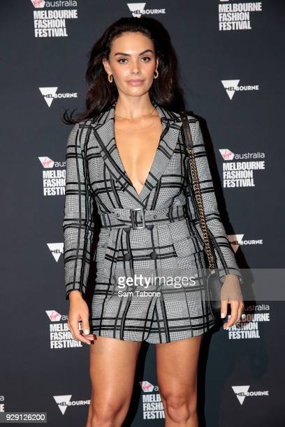 Monika Clarke arrives ahead of the VAMFF 2018 Runway 5 presented by InStyle on March 8 2018 in Melbourne Australia