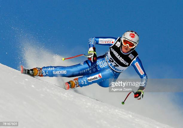 Monika Dumermuth of Switzerland skiis enroute to third best finish during training for this weekend's seasonopening women's World Cup downhill race...