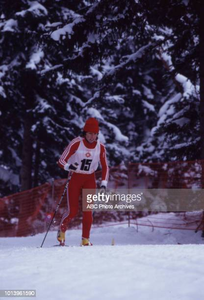Monika Germann competing in the Women's 20 kilometre crosscountry skiing event at the 1984 Winter Olympics / XIV Olympic Winter Games Veliko Polje...