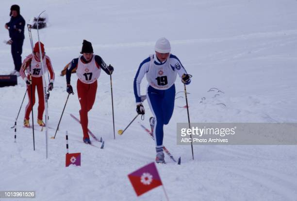 Monika Germann Susan Long Eija Hyytiäinen competing in the Women's 20 kilometre crosscountry skiing event at the 1984 Winter Olympics / XIV Olympic...