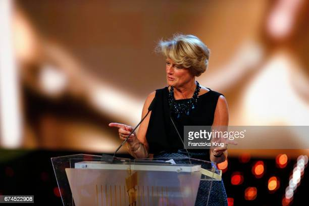 Monika Gruetters Berlin's Minister of Culture speaking on stage at the Lola German Film Award show at Messe Berlin on April 28 2017 in Berlin Germany