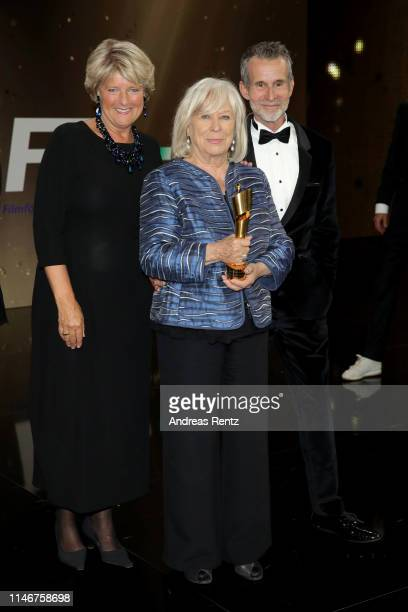 Monika Gruetters Margarethe von Trotta winner of the honorary award and Ulrich Matthes President of the German Film Academy pose during the Lola...