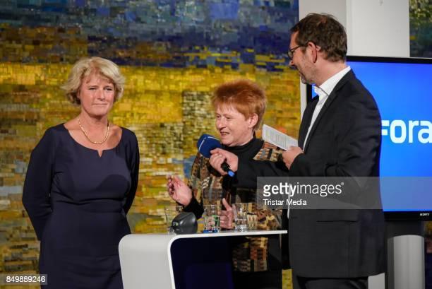 Monika Gruetters Petra Pau and presenter Norbert Hansen during the live TV program 'Ihre Wahl 6 Frauen für Berlin und Brandenburg' on September 19...
