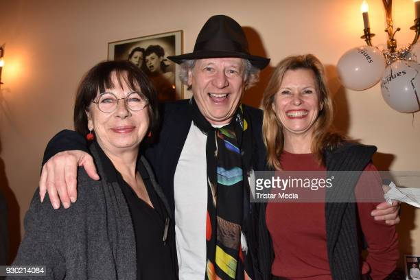 Monika Hansen, Kluas Pohl and Leslie Malton attend the premiere 'Der Entertainer' on March 10, 2018 in Berlin, Germany.