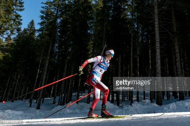 Monika Hojnisz-Starega of Poland competes during the Women 12.5 km Mass Start Competition at the IBU World Championships Biathlon Pokljuka at Rudno...