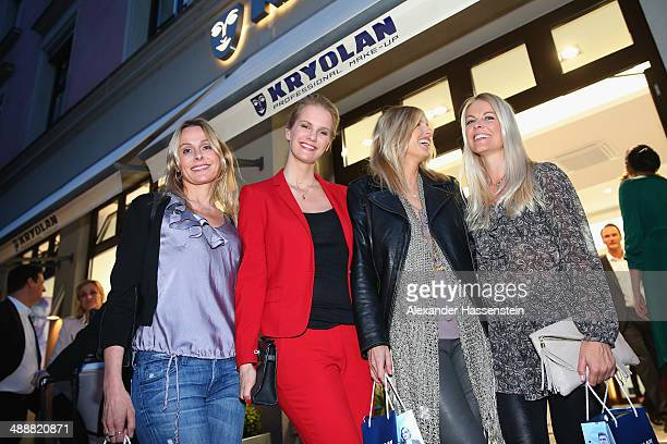 Monika Ivancan attends with Tina Kaiser the Kryolan MakeUp Shop Opening on May 8 2014 in Munich Germany