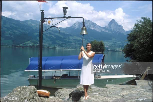 Monika Kaelin at the shore of Lake Lauerz 1981