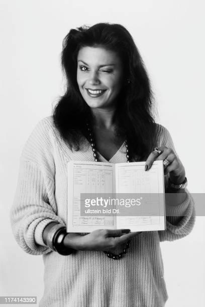 Monika Kaelin with her school report 1986