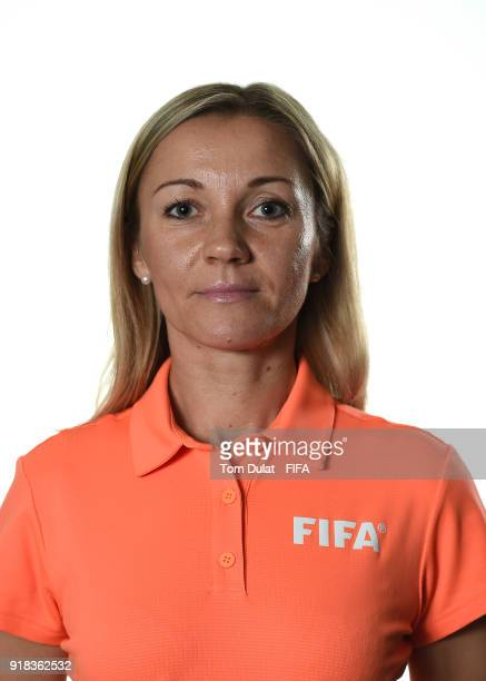 Monika Mularczyk of Poland poses for photographs during the FIFA Women's Referee Seminar on February 14 2018 in Doha Qatar