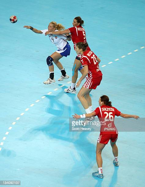 Monika Rajnohova of Slovakia in actionl during Day Three of the London Handball Cup during the LOCOG Test Event for London 2012 at Handball Arena on...