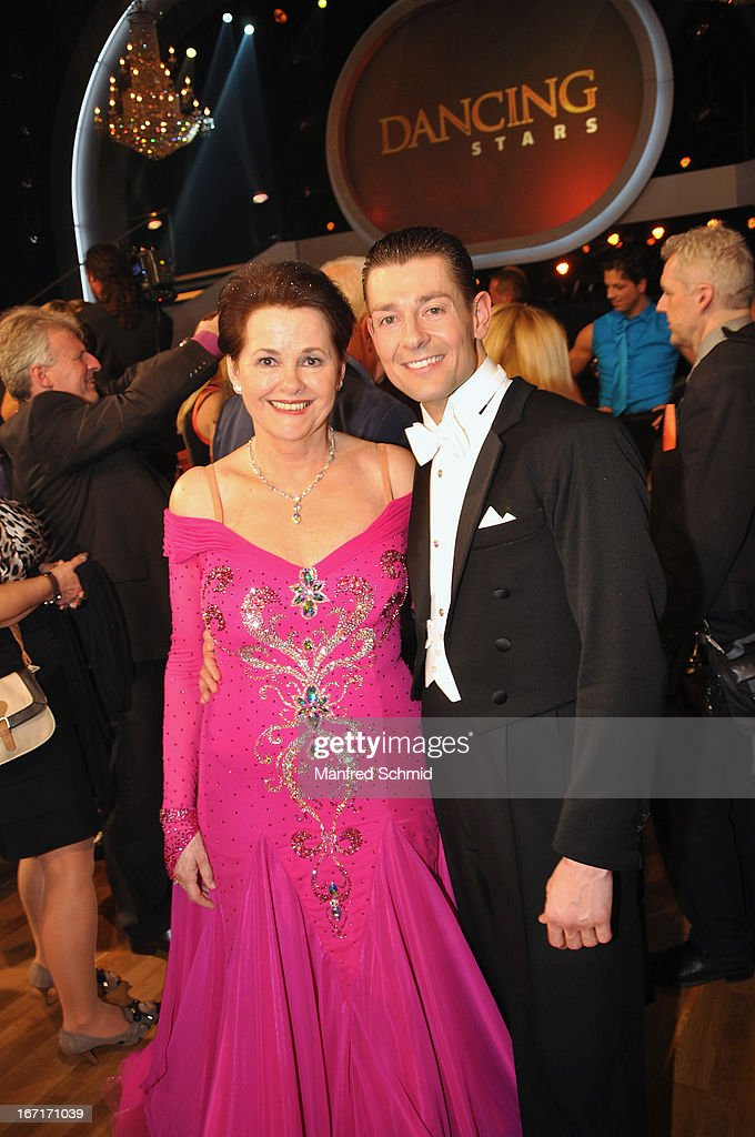 Monika Salzer and Florian Gschaider pose on stage after the TV Show 'Dancing Stars' at ORF Center on April 19, 2013 in Vienna, Austria.