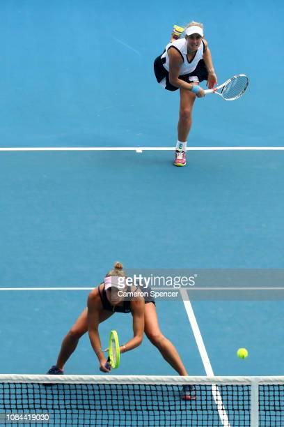 Monique Adamczak and Jessica Moore of Australia during their second round doubles match against Katerina Siniakova and Barbora Krejcikova of the...
