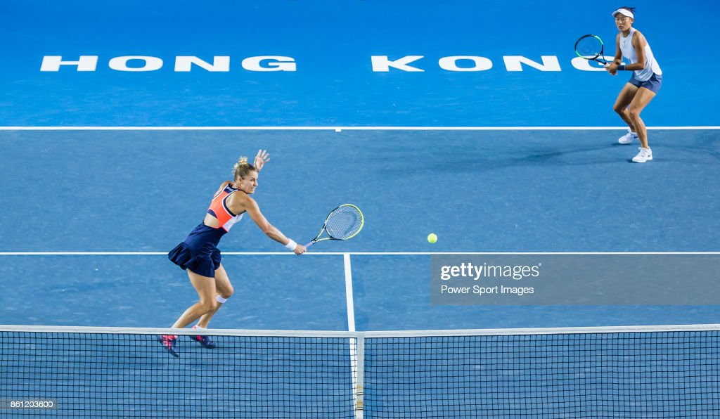 Monique Adamczak of Australia (L) and Kai-Chen Chang of Taiwan (R) during the women's doubles semi-final match of the Prudential Hong Kong Tennis Open 2017 between Jia-Jing Lu of China and Qiang Wang of China, and Monique Adamczak of Australia and Kai-Chen Chang of Taiwan at Victoria Park on October 14, 2017 in Hong Kong, Hong Kong.