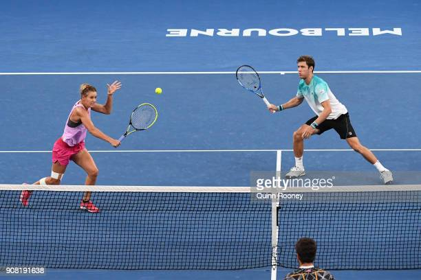 Monique Adamczak of Australia and Matthew Ebden of Australia in their first round mixed doubles match against Demi Schuurs of the Netherlands and...