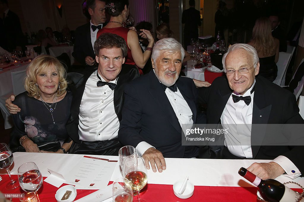 Monique Adorf, Carsten Maschmayer, Mario Adorf and Edmund Stoiber attend the Germany Filmball 2013 on January 19, 2013 in Munich, Germany.