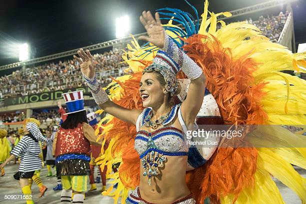 Monique Alfradique dances during the Rio Carnival in Sambodromo on February 7 2016 in Rio de Janeiro Brazil Despite the Zika virus epidemic thousands...